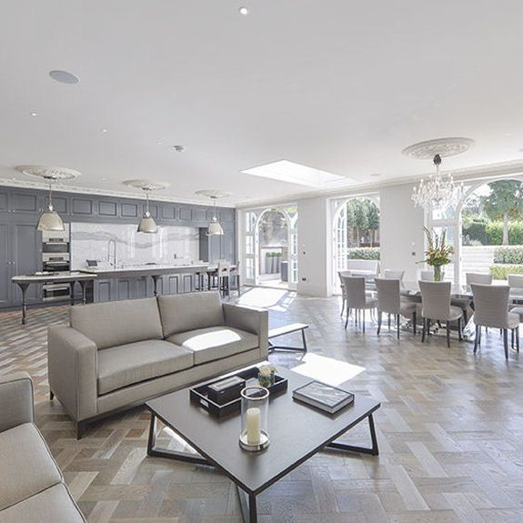 Transitional Open Plan Kitchen With Living Room Access: One From Sitting Room And One From Dining End Of
