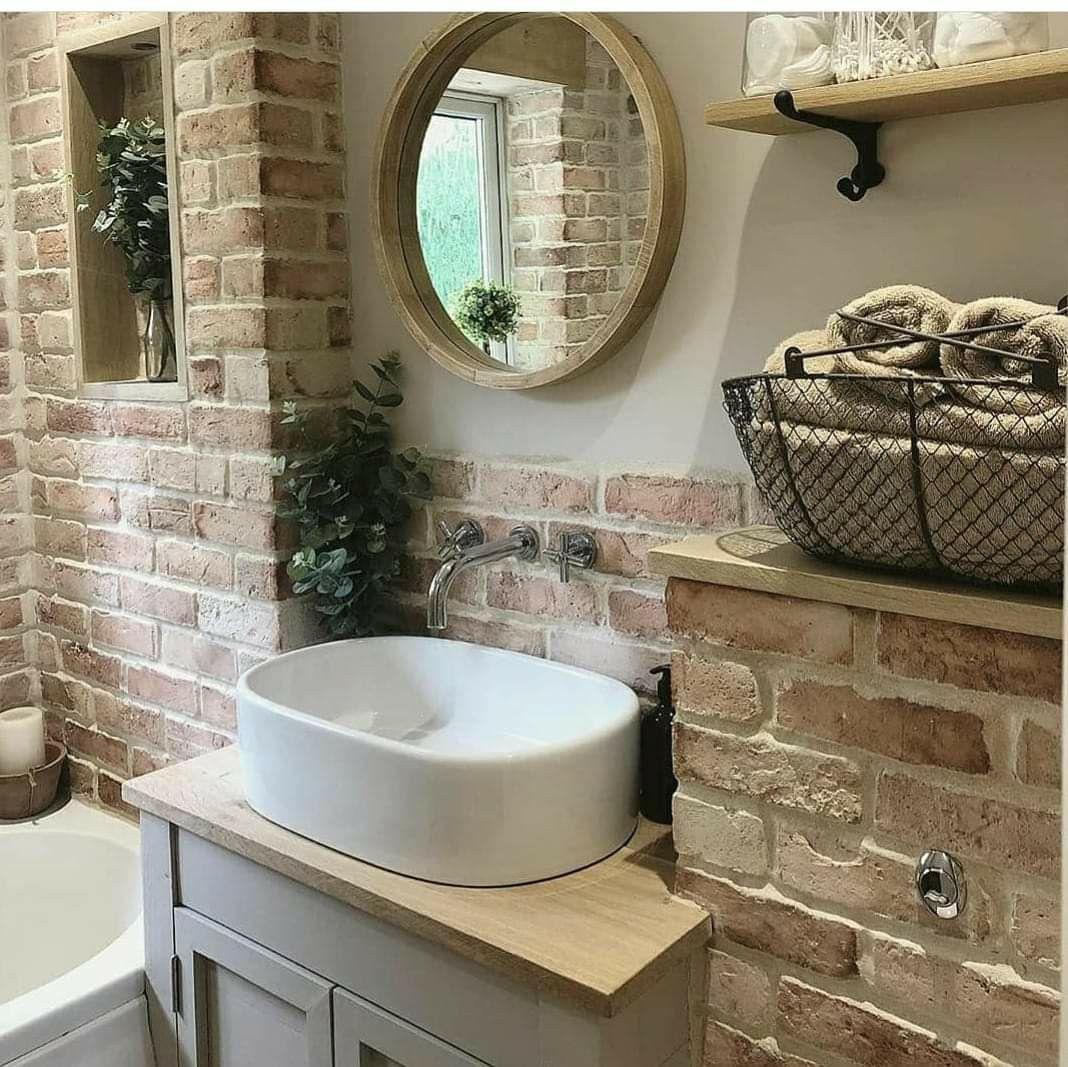 Pin By Heather Jones On Homes Brick Bathroom Rustic Bathrooms Small Bathroom Remodel [ jpg ]