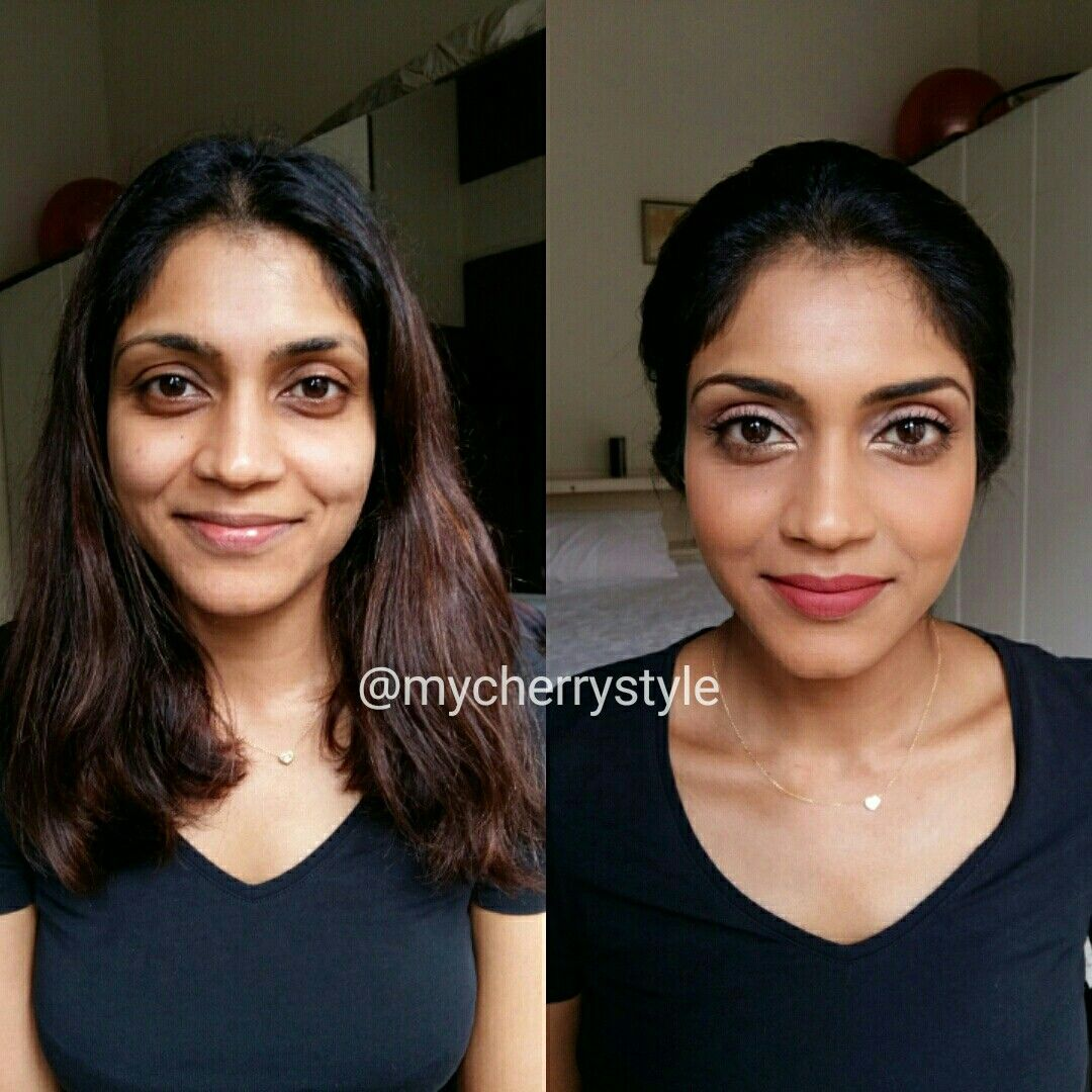 Before and after makeup. Asian Indian modern bridal natural light