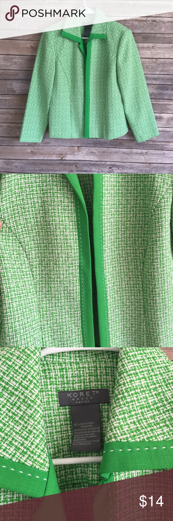 Green and white jacket Excellent jacket in great condition. Very minor signs of wear. No rips or stains. Shoulder pads can easily be cut out (A7) Koret Jackets & Coats