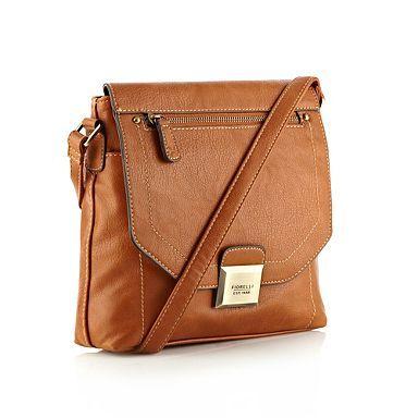 Tan Faux Leather Flapover Across Body Bag Bags Handbags Purses