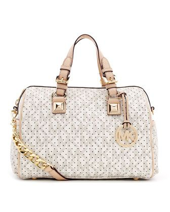 2e1bd7e27611 MICHAEL Michael Kors Medium Grayson Logo Perforated Satchel with Strap.