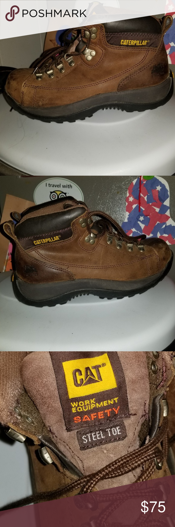 Mens size 8 Caterpillar steel toe work boots Only worn a