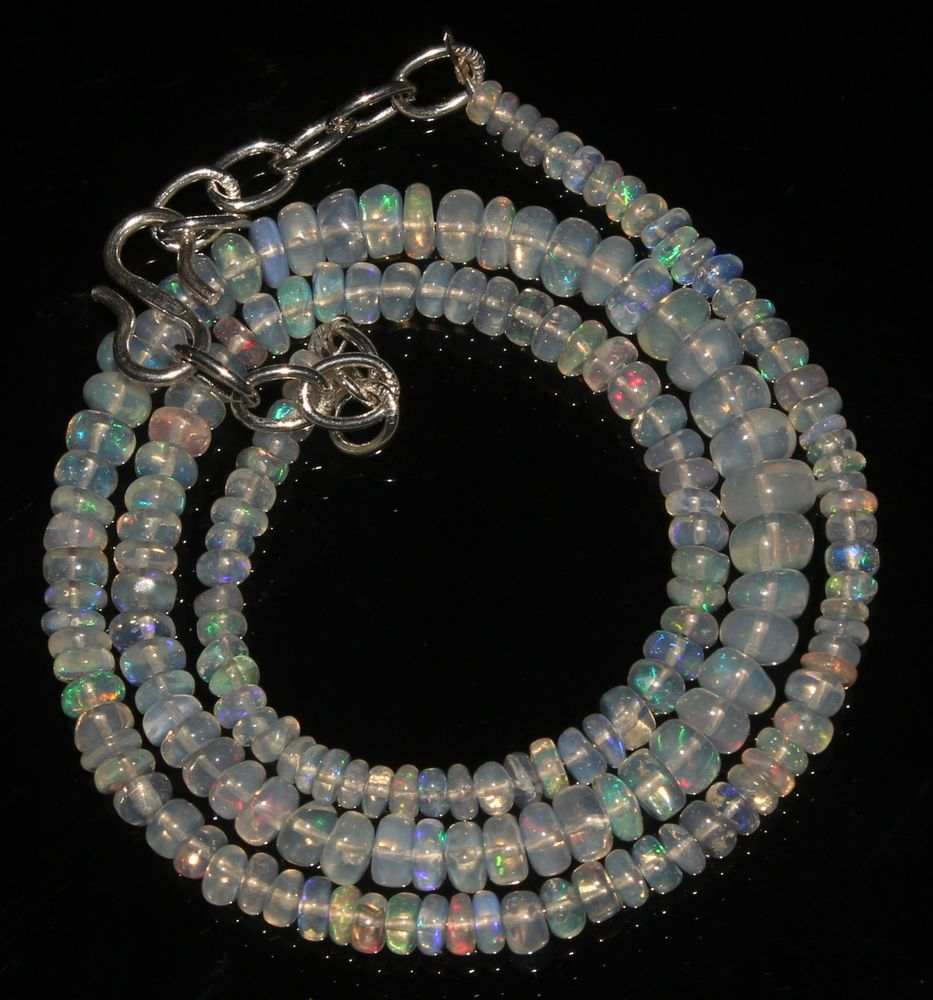 """41Ctw1Necklace 3to5.5mm 15"""" Beads Natural Genuine Ethiopian Welo Fire Opal 92150"""
