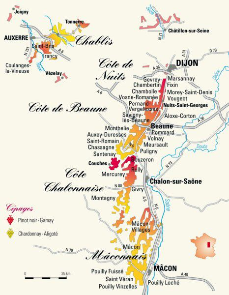 Bourgogne Wine Map Carte Des Vins Bourgogne Vignoble
