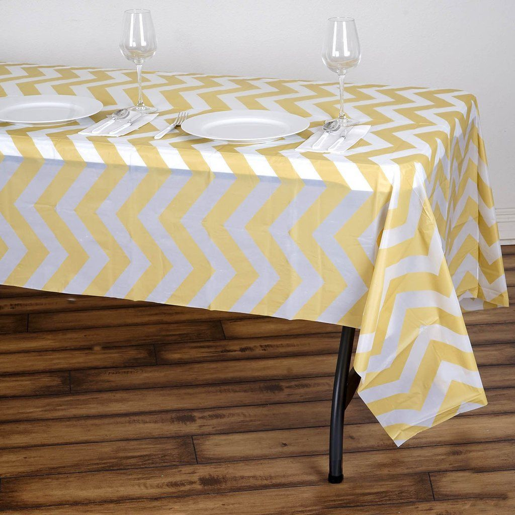 54 X 108 Champagne 10 Mil Thick Chevron Waterproof Tablecloth Pvc Rectangle Disposable Tablecloth In 2020 Plastic Table Covers Table Covers Plastic Tables