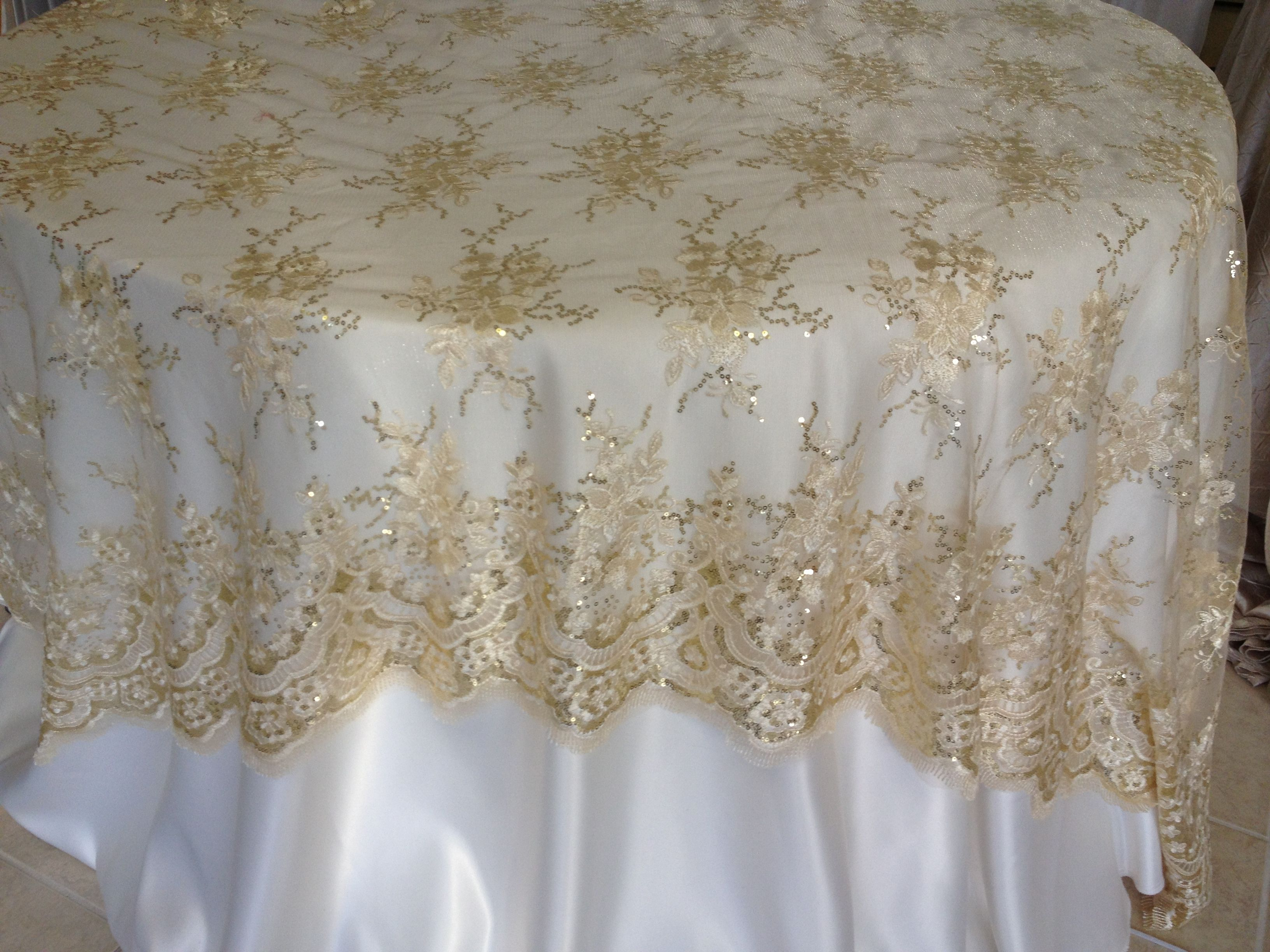 champagne lace overlay wedding decor linens and beyond