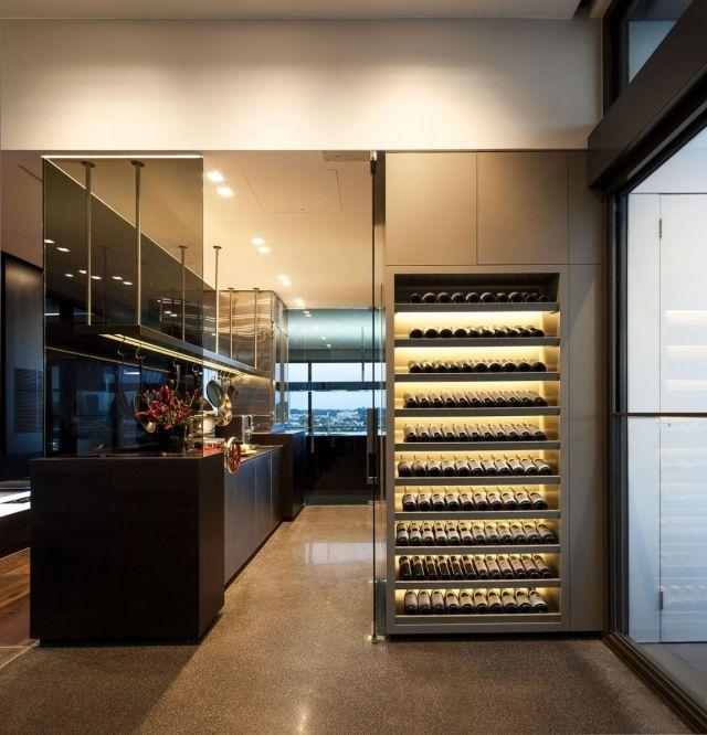 Loft-stil Raumplanung-Trennelemente Glas Türen-Küche mit Weinregalen ...