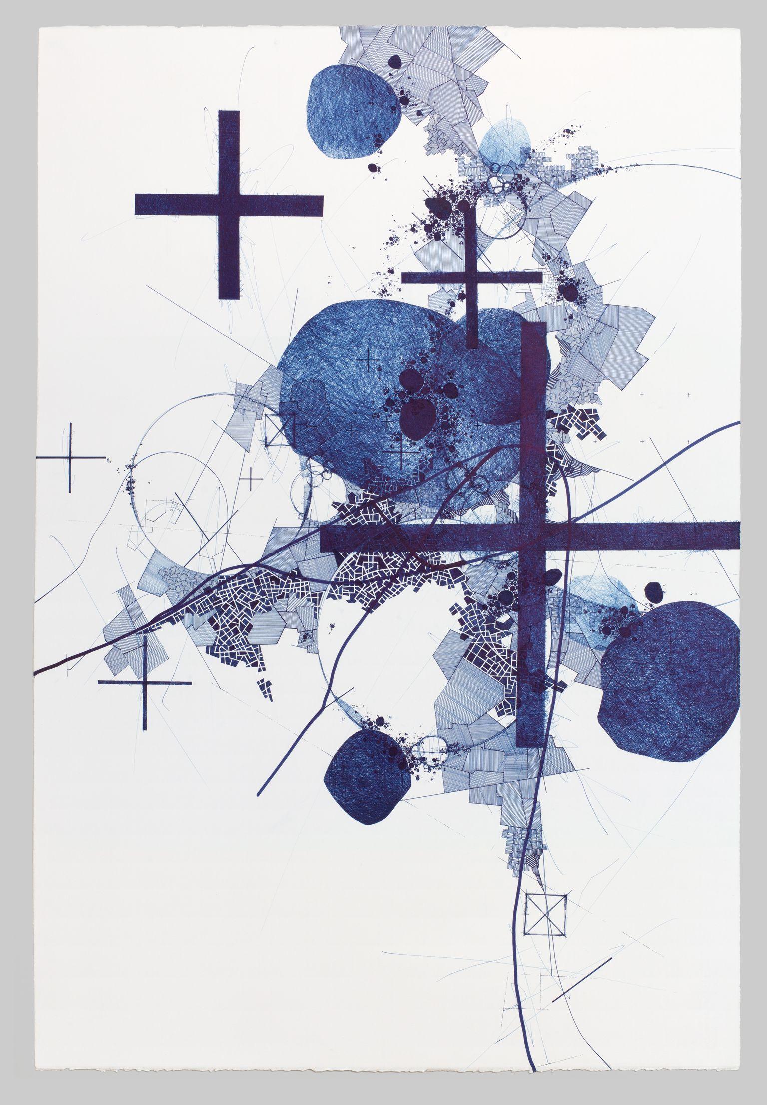 Derek Lerner - Asvirus 58, 2015 Ink on paper 44 x 30 in