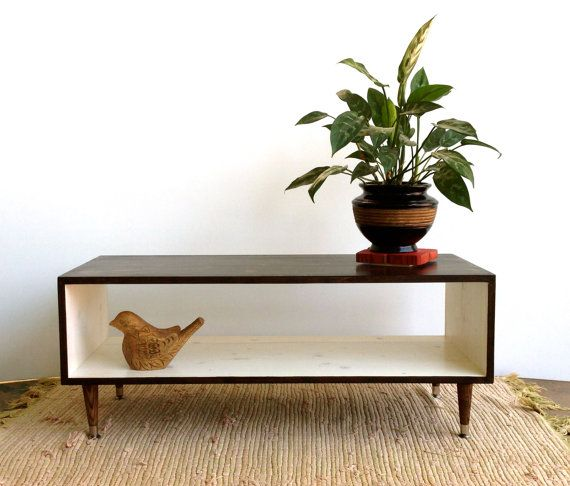 Handmade Mid Century Modern White And Chocolate Brown Stained Or