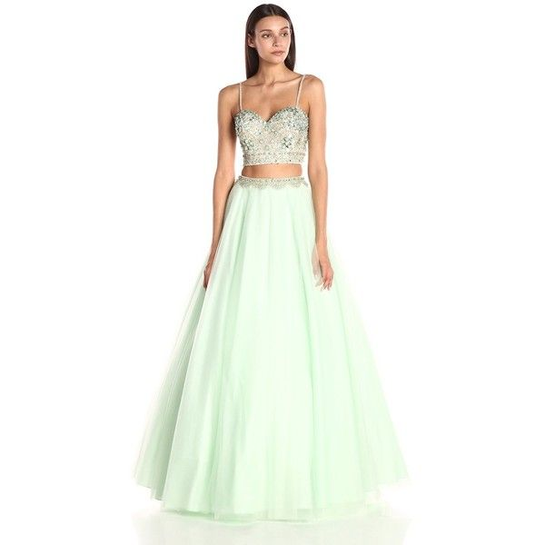 Jovani Women\'s Blue Two-Piece Prom Dress ($550) ❤ liked on Polyvore ...