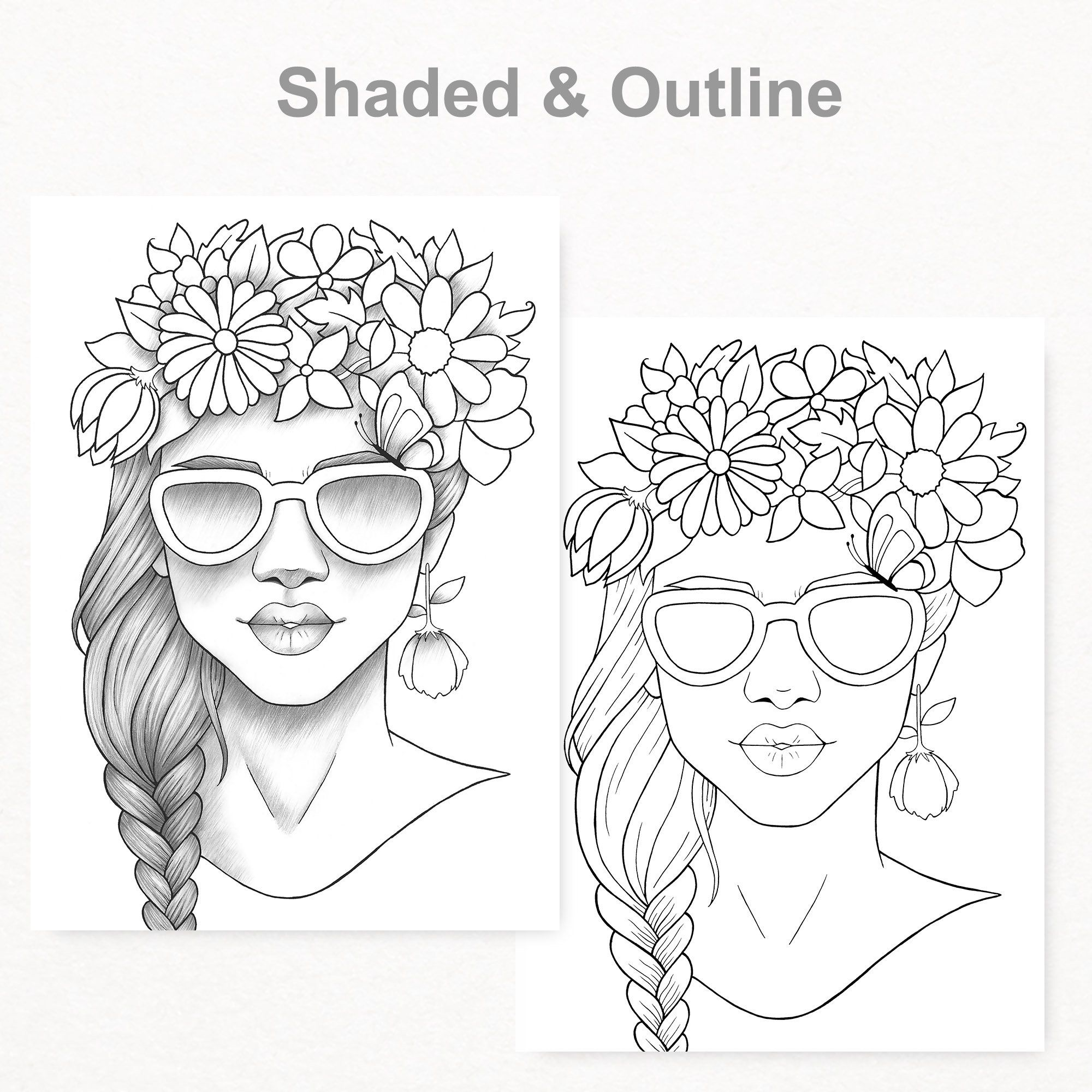 Adult Coloring Page Girl Portrait Colouring Sheet Flower Crown Pdf
