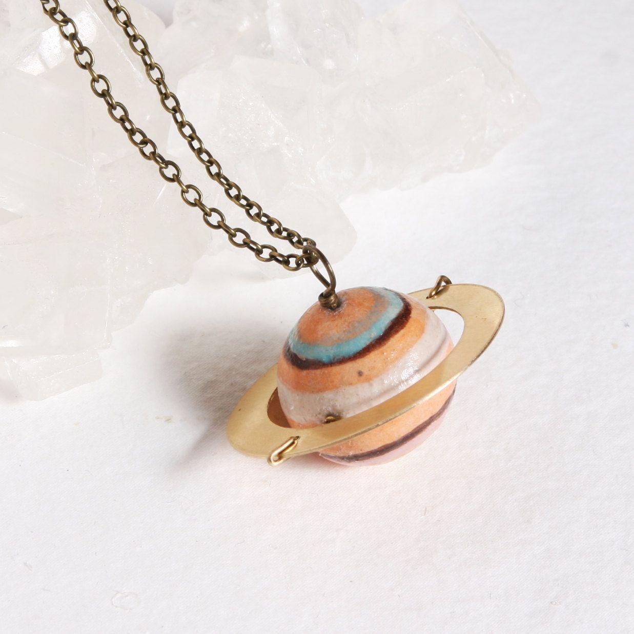 Planet Saturn Pendant Adjustable Necklace