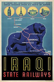 Iraqi State Railways vintage Iraq train travel poster