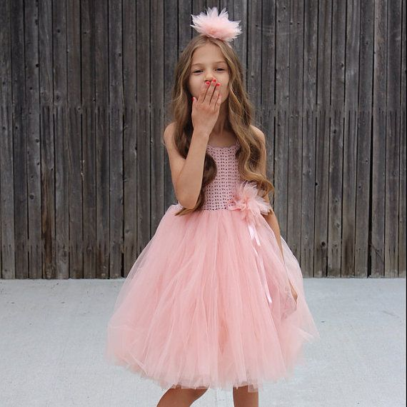 Girl Tutu Dress. Flower Girl Tulle Dress with Lace por AylinkaShop