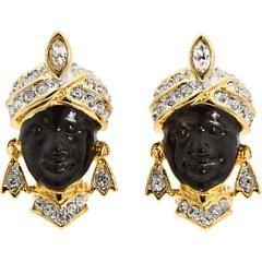 Kenneth Jay Lane Silver Blackamoor Clip Earrings Black uTsUcFik
