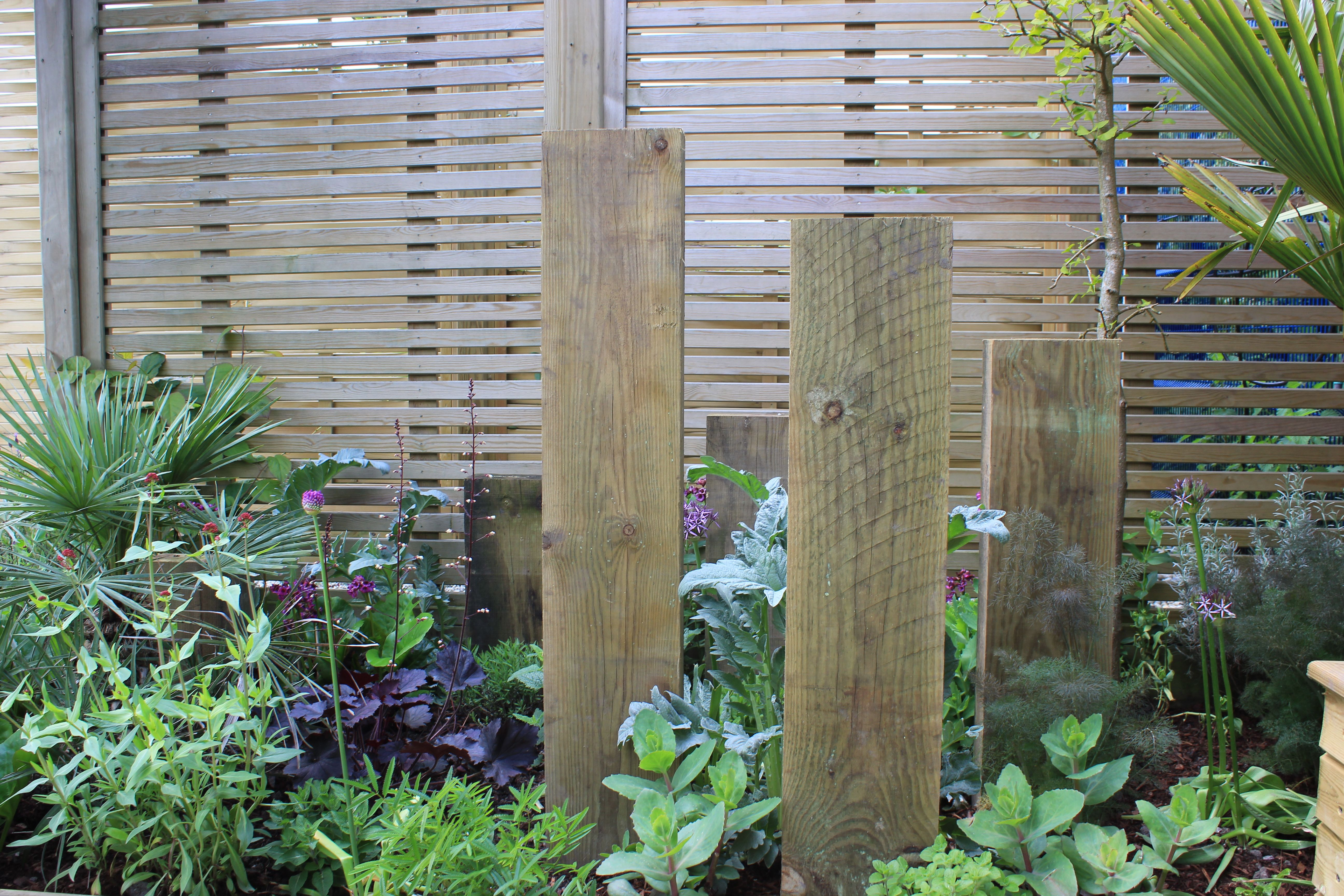 Timber sleepers used as a feature in this garden, with ...