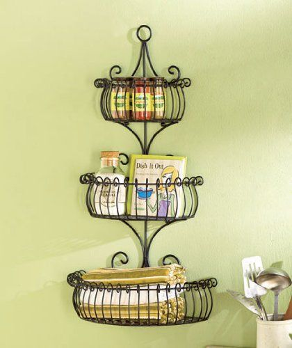 Set of 3 Multi Use Wall Basket Shelf Elegant Metal Indoor Outdoor ...