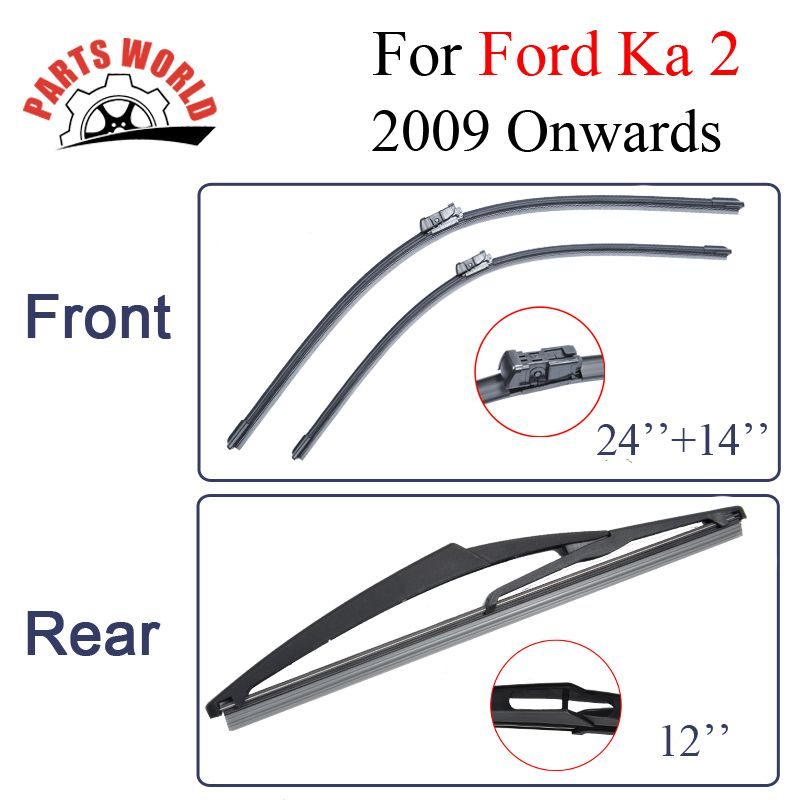 Combo Silicone Rubber Front And Rear Wiper Blades For Ford Ka   Onwards Windscreen
