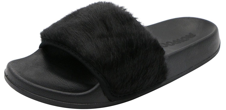 Women Slip On Faux Fur Trim Flat