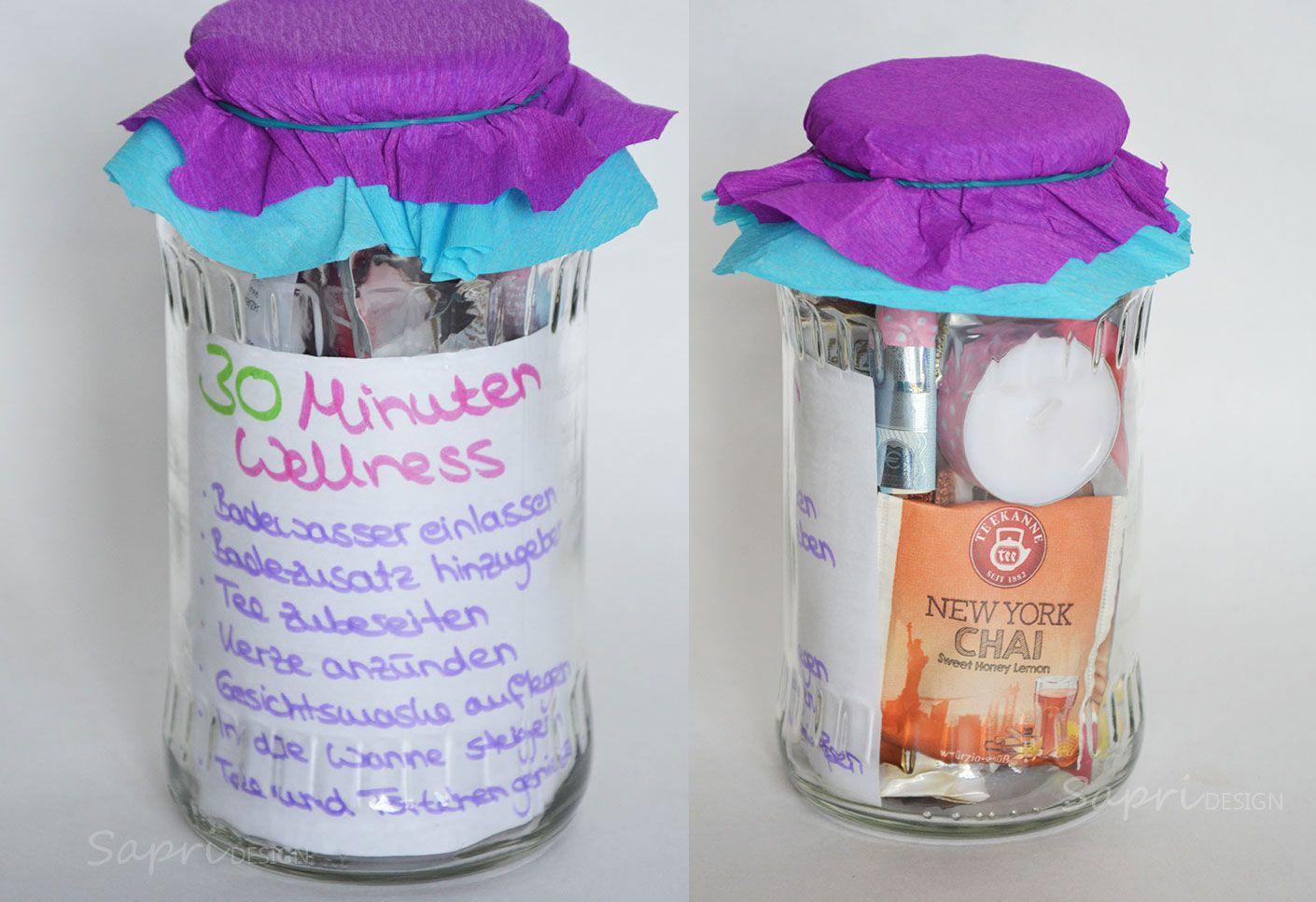 DIY-Geschenkidee - 30 Minuten Wellness-Set im Glas - SAPRI-Design #wellnessimglas