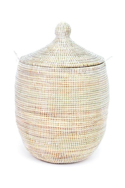 African Handmade Solid White Prayer Mat Hamper Basket Laundry