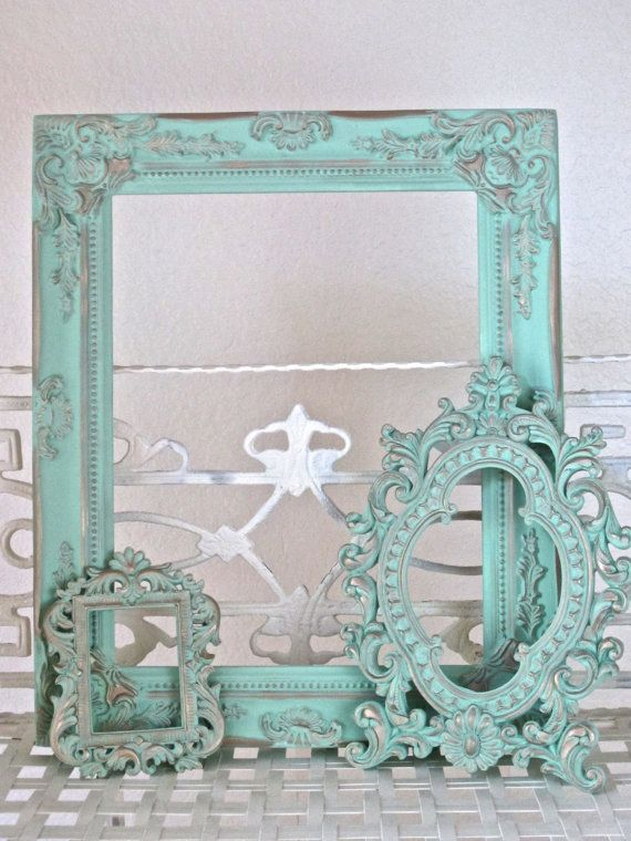 Set Of Ornate Mirrors Mint Green French Gold Home Decor Hand Painted Annie Sloan Chalk Paint On Etsy Painting Mirror Frames Ornate Mirror Small Picture Frames