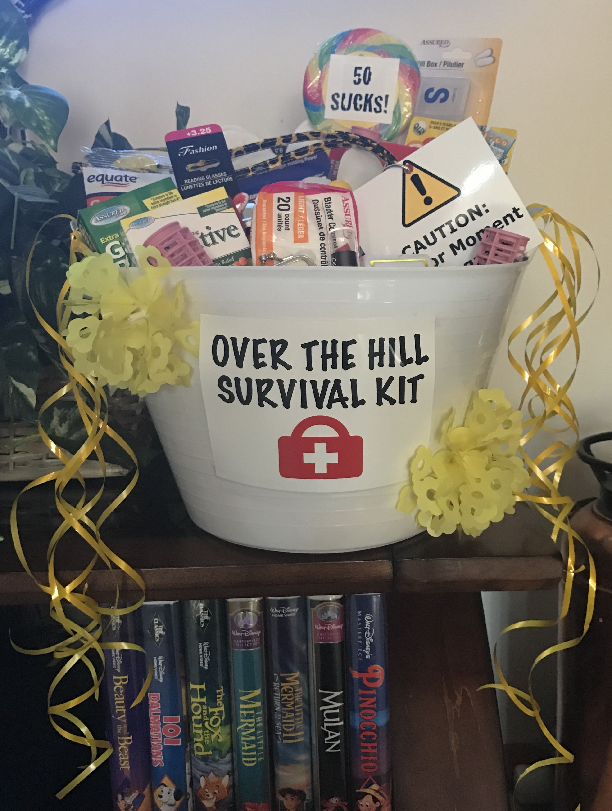 Over The Hill Survival Kit 60th Birthday Ideas For Mom Diy 50th Birthday Decorations 50th Birthday Funny