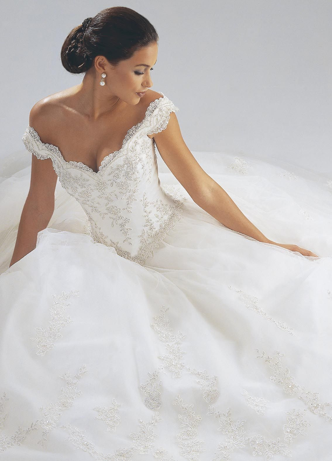 Beautiful satin offtheshoulder wedding dress loooove the lace