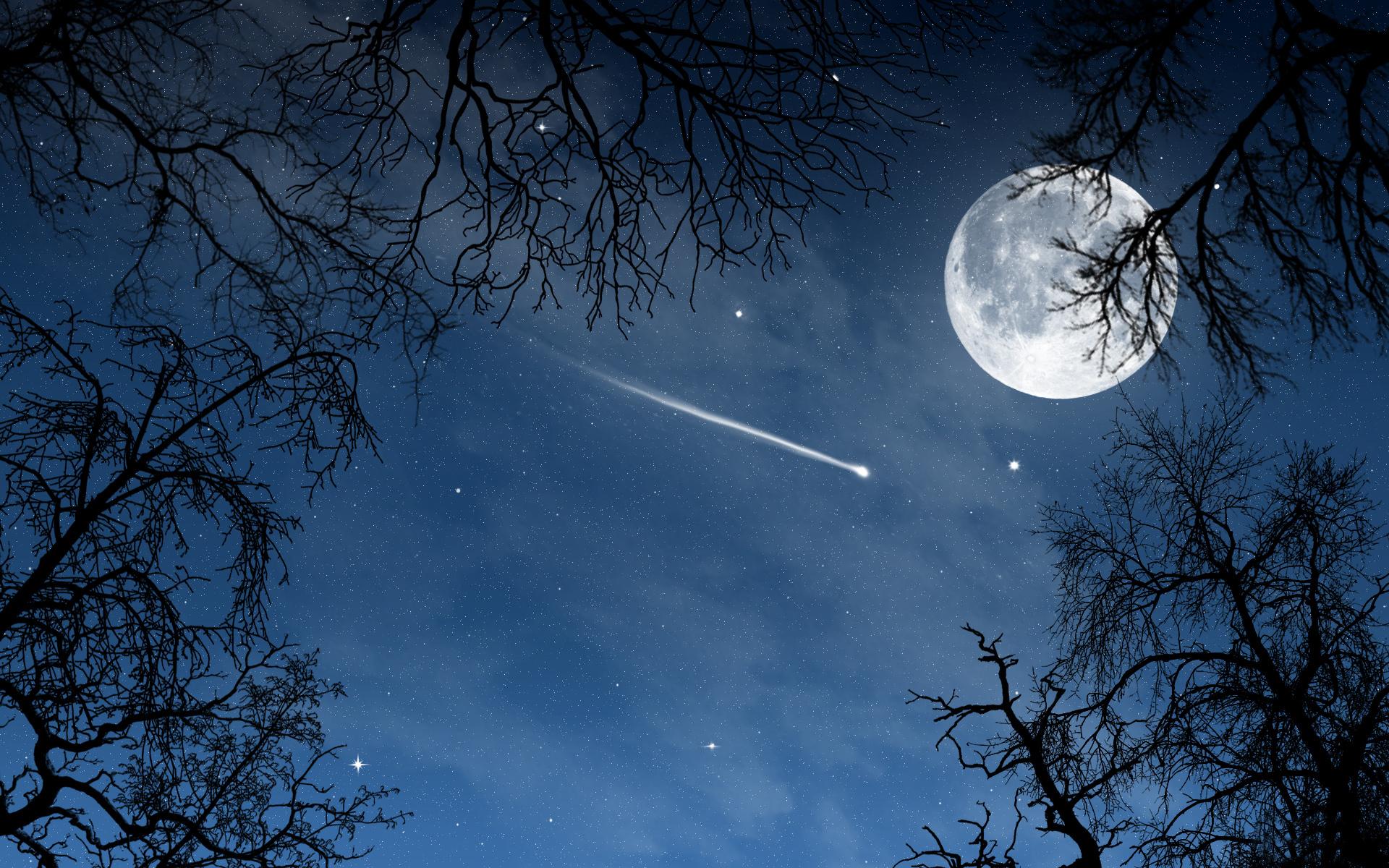 View Moon And Stars Wallpaper Desktop PNG