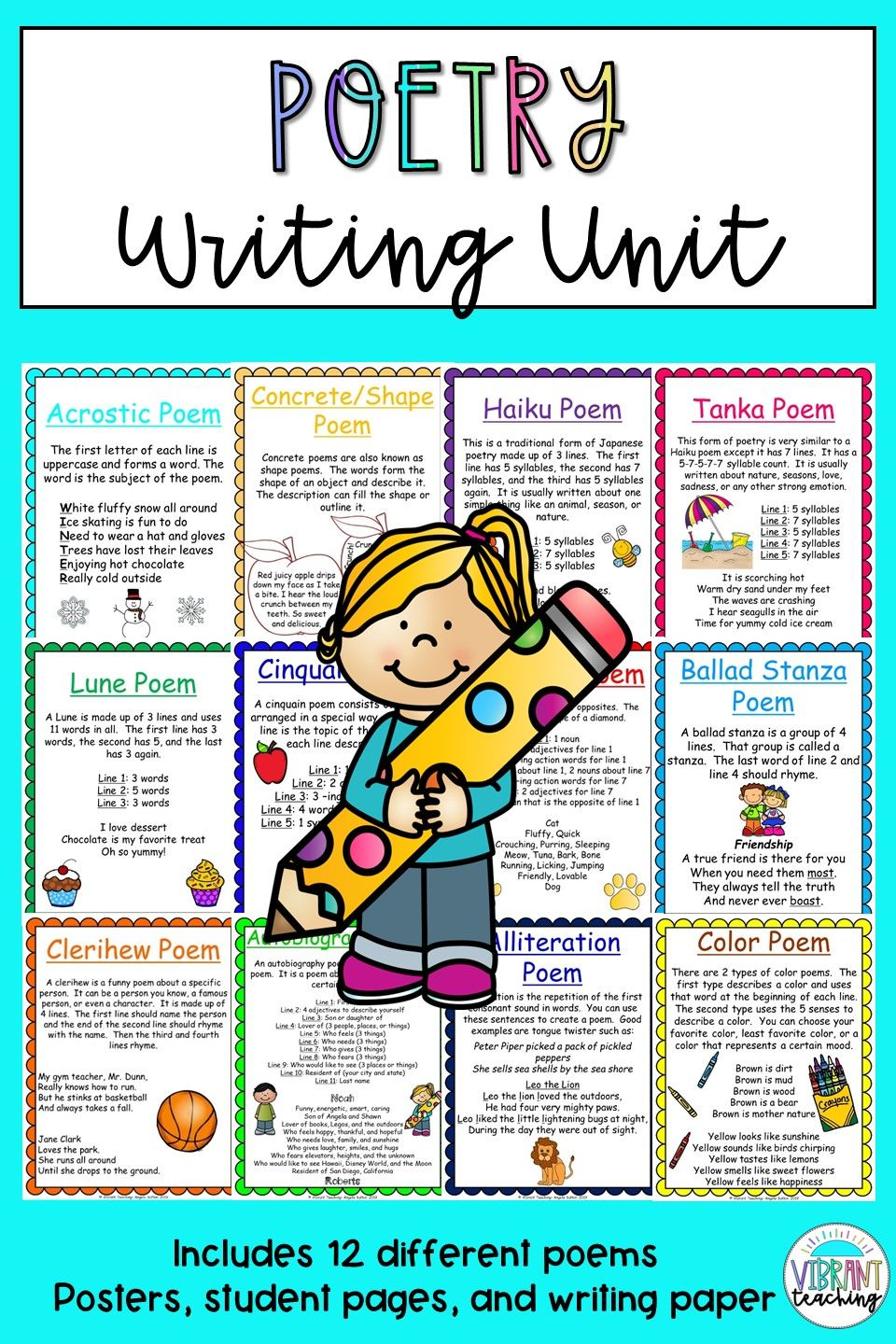 Poetry For Kids In 2020 Types Of Poems Writing Units Poetry For Kids