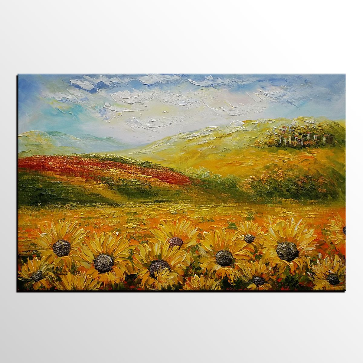 Canvas Art, Sunflower Painting, Large Wall Art, Landscape Painting ...