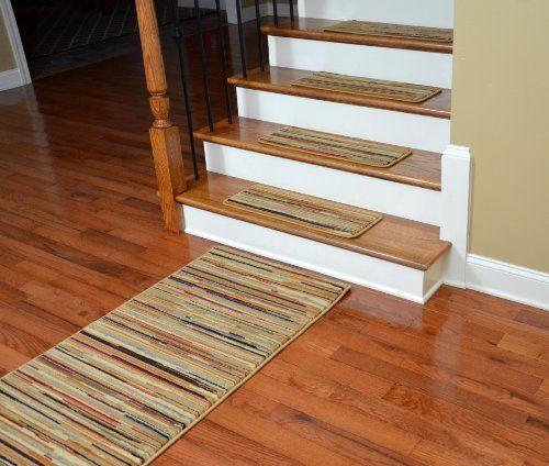Best Dean Premium Carpet Stair Treads Striation Stripes Beige 400 x 300