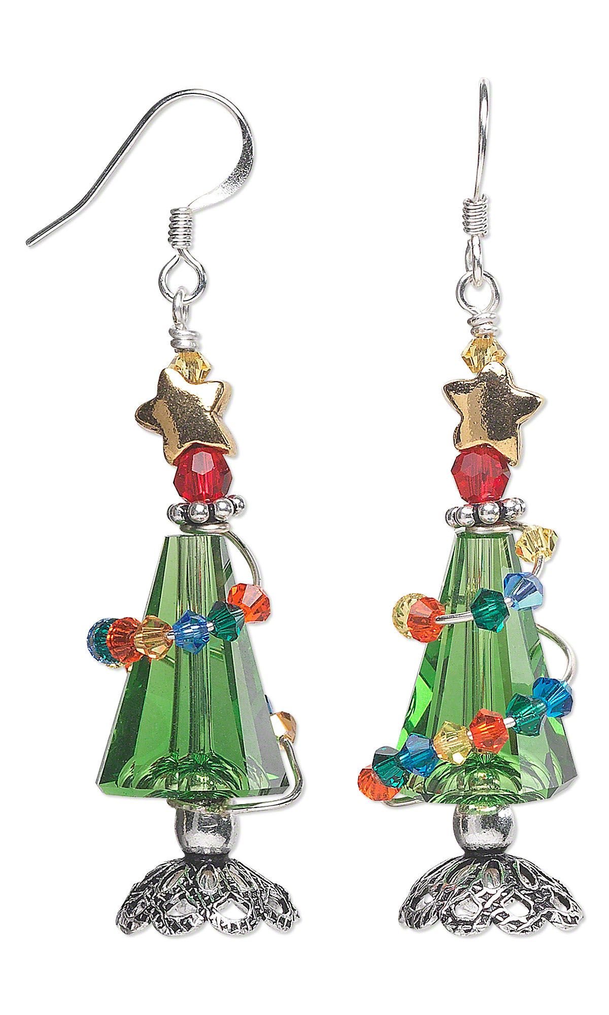 Jewelry Design - Earrings with Swarovski Crystal Beads and Wire Wrap ...