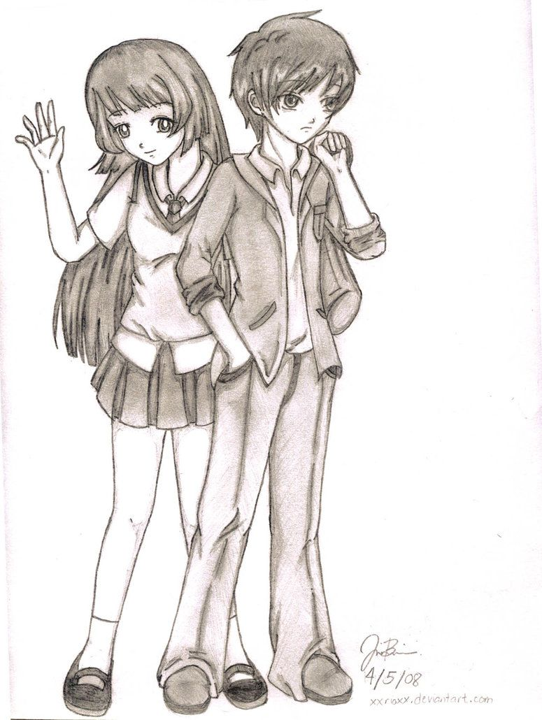 Random Anime Couple By Xxrioxx On Deviantart Easy Manga Drawings Anime Drawings Cartoon Drawings
