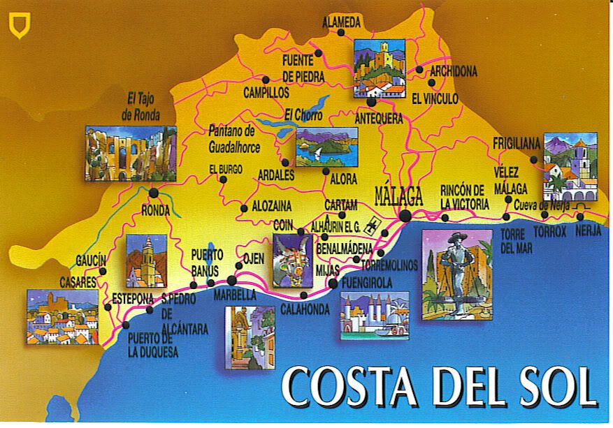 Costa Del Sol Map Spain Costa del Sol Pinterest Costa del