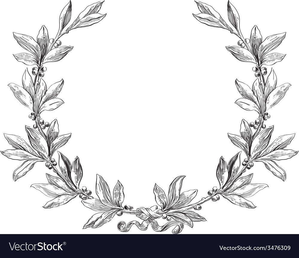 Laurel Wreath Vector Image On Vectorstock In 2020 Vintage Floral Backgrounds Vintage Frames Vector Vector Flowers