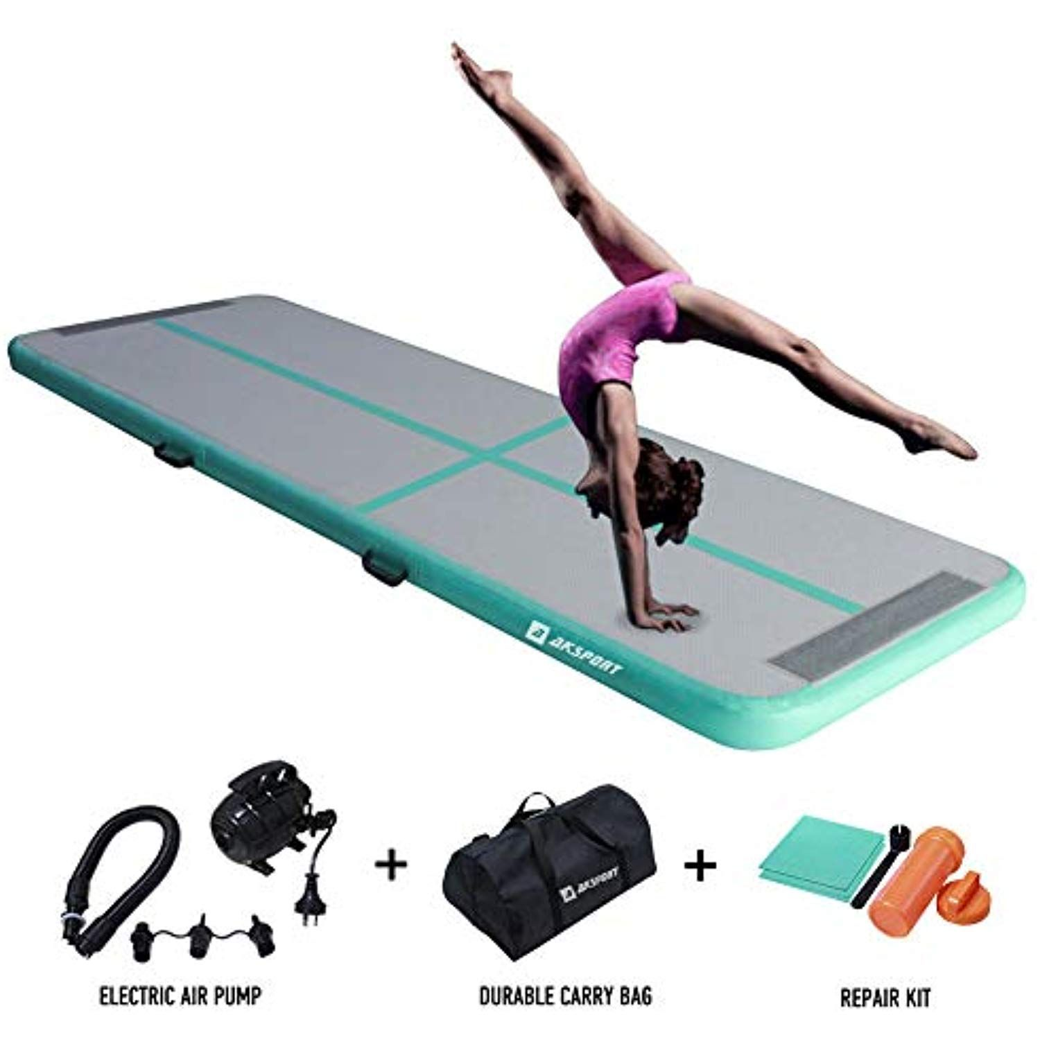 Aksport 10ft Air Track Tumbling Mat For Gymnastics Inflatable Airtrack Floor Mats With Electric Air Pump For Home Use Cheerlead Tumble Mats Sports Cheerleading