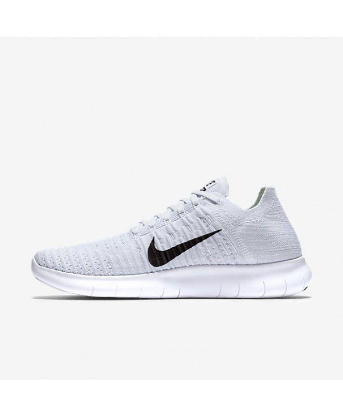 f3630fe7c68b Nike Free RN Flyknit White Pure Platinum Black Mens Running Shoe ...