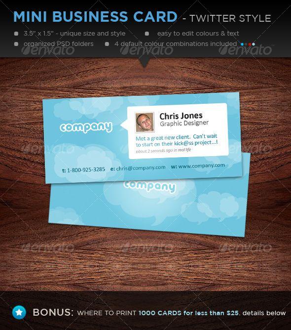 Mini Designer Business Cards Twitter Style Mini Business Card Business Card Inspiration Business Card Design