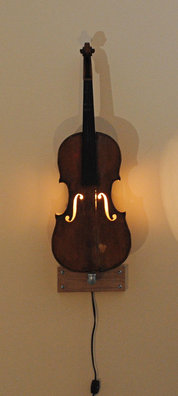very cool Vintage violin wall light by yeROCdesigns on Etsy violin
