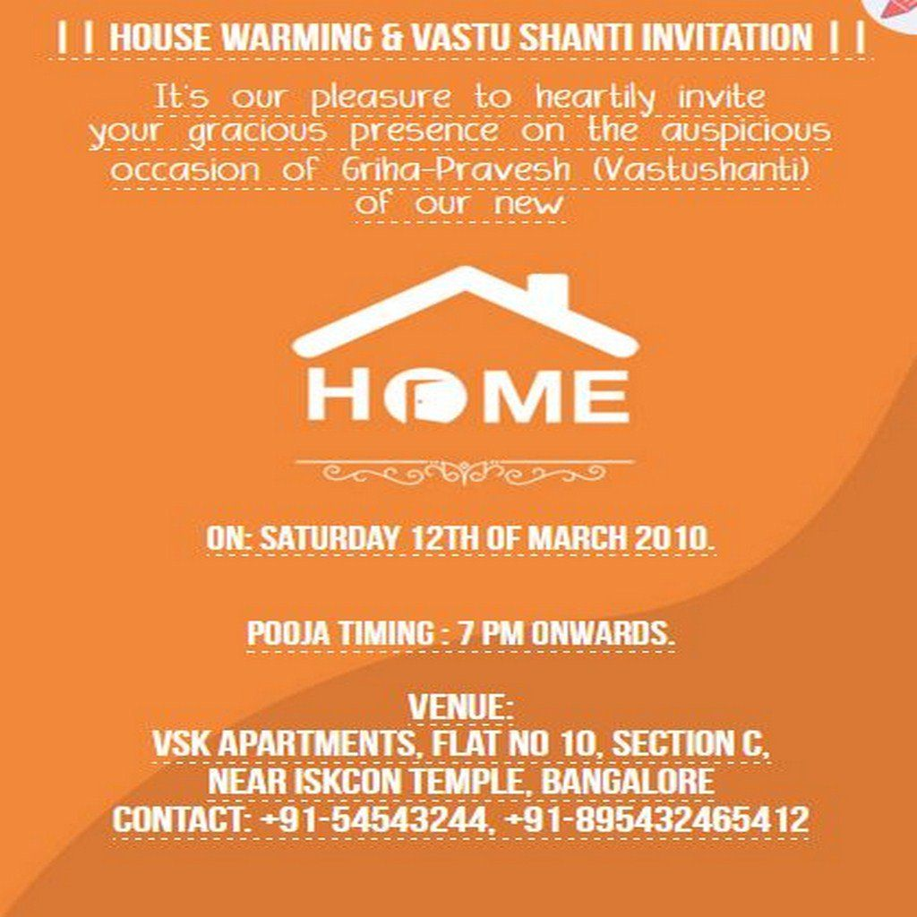 7 Best Free House Warming Grihapravesh Vasthu Shanti Pooja Invitations Images In 2017 Housewarming Invitation Cards