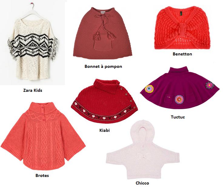 Ponchos Zara Kids, Bonnet à pompon, Benetton, Brotes, Kiabi, Chicco  y Tuctuc