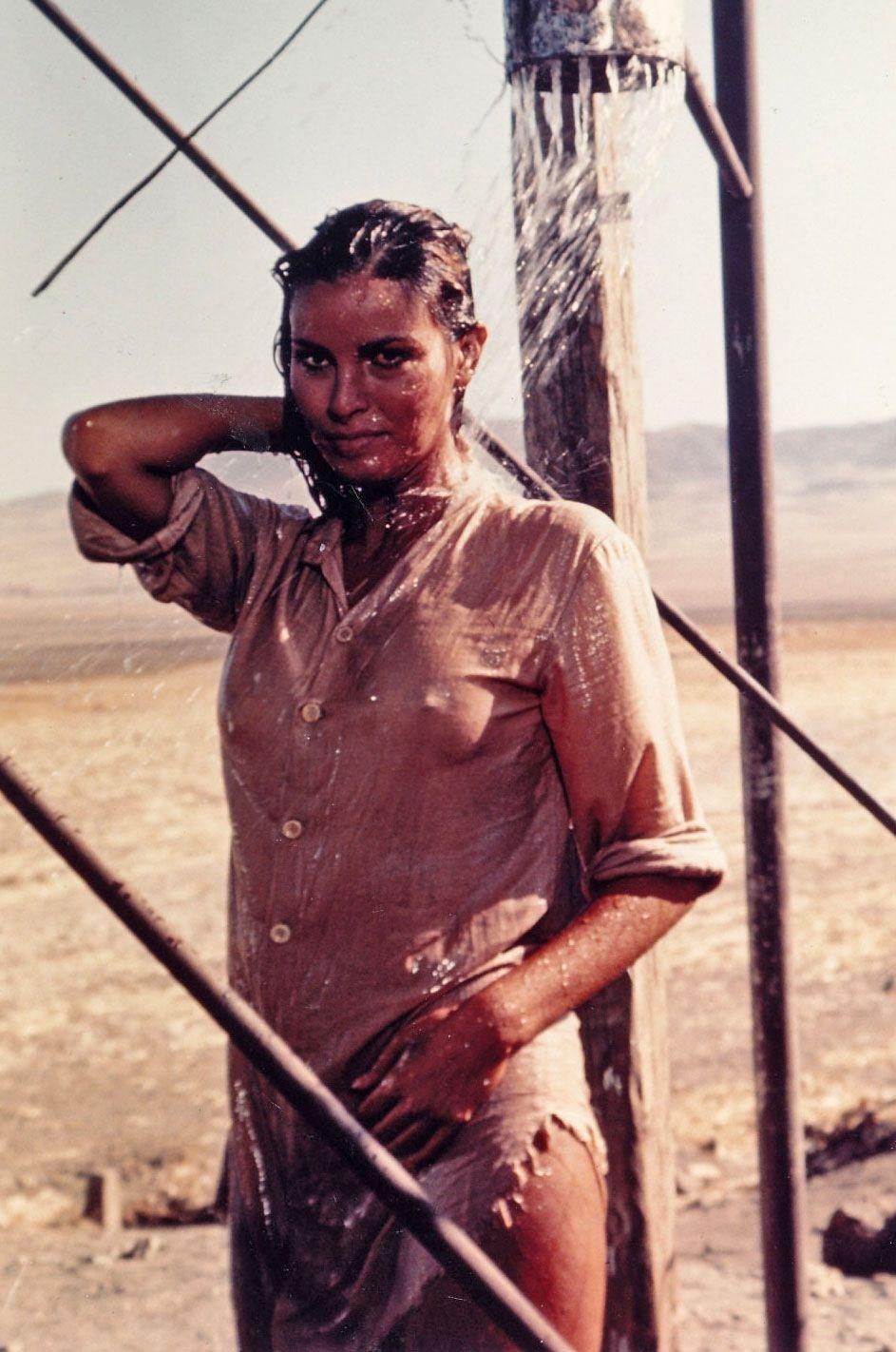 raquel welch taking an outdoor shower, 100 rifles (1969) | sexy