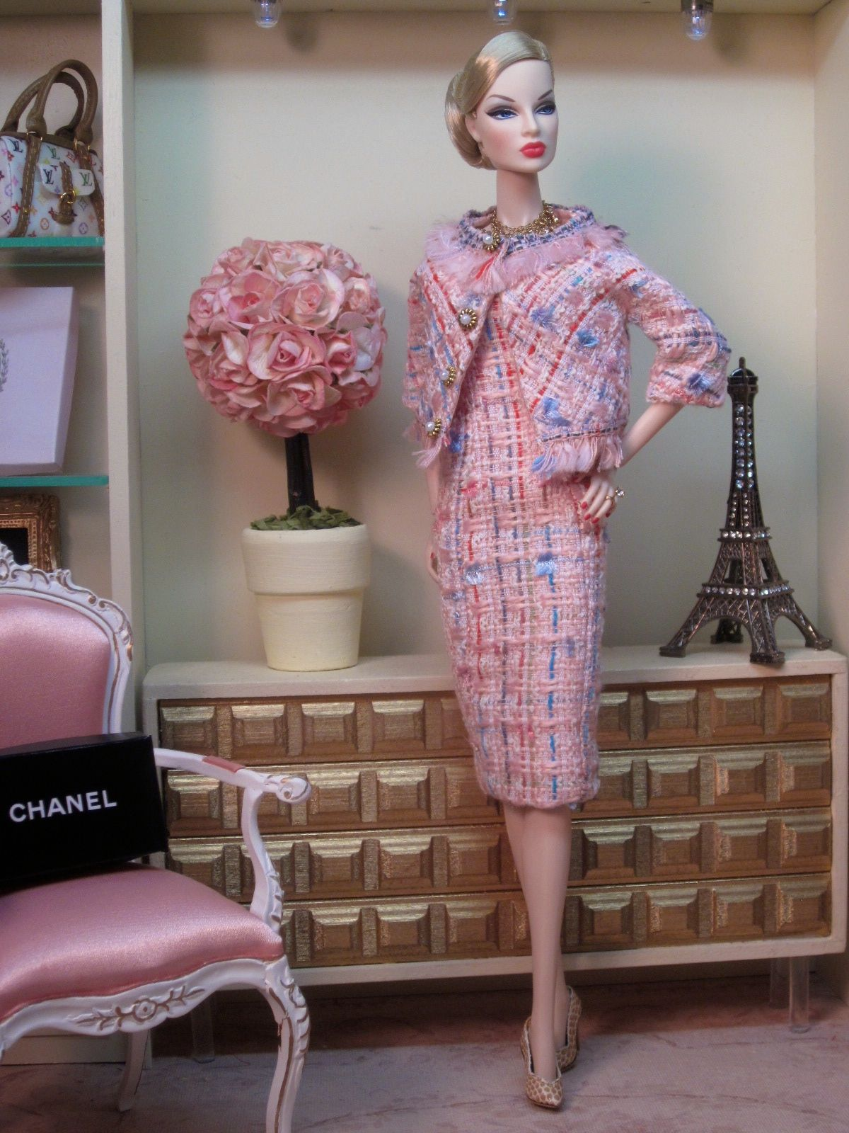 Chanel Inspired Suit in Cotton Candy Bouclé Chanel
