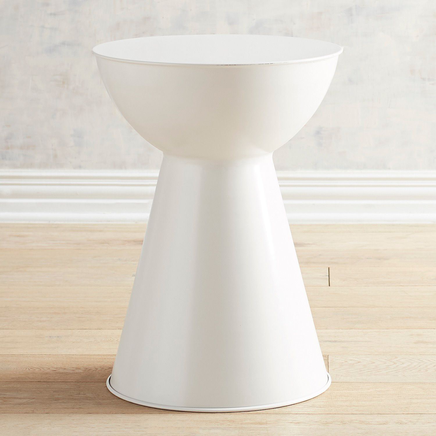 - Metal White Drum Accent Table Accent Table, White Accent Table
