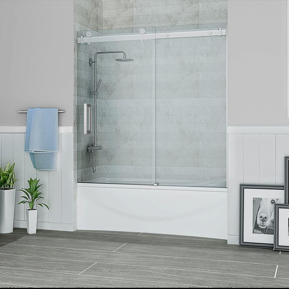Schon Judy 60 In X 59 In Semi Framed Sliding Trackless Tub And Shower Door In Chrome With Clear Glass Sc70013 Tub Shower Doors Shower Tub Shower Doors