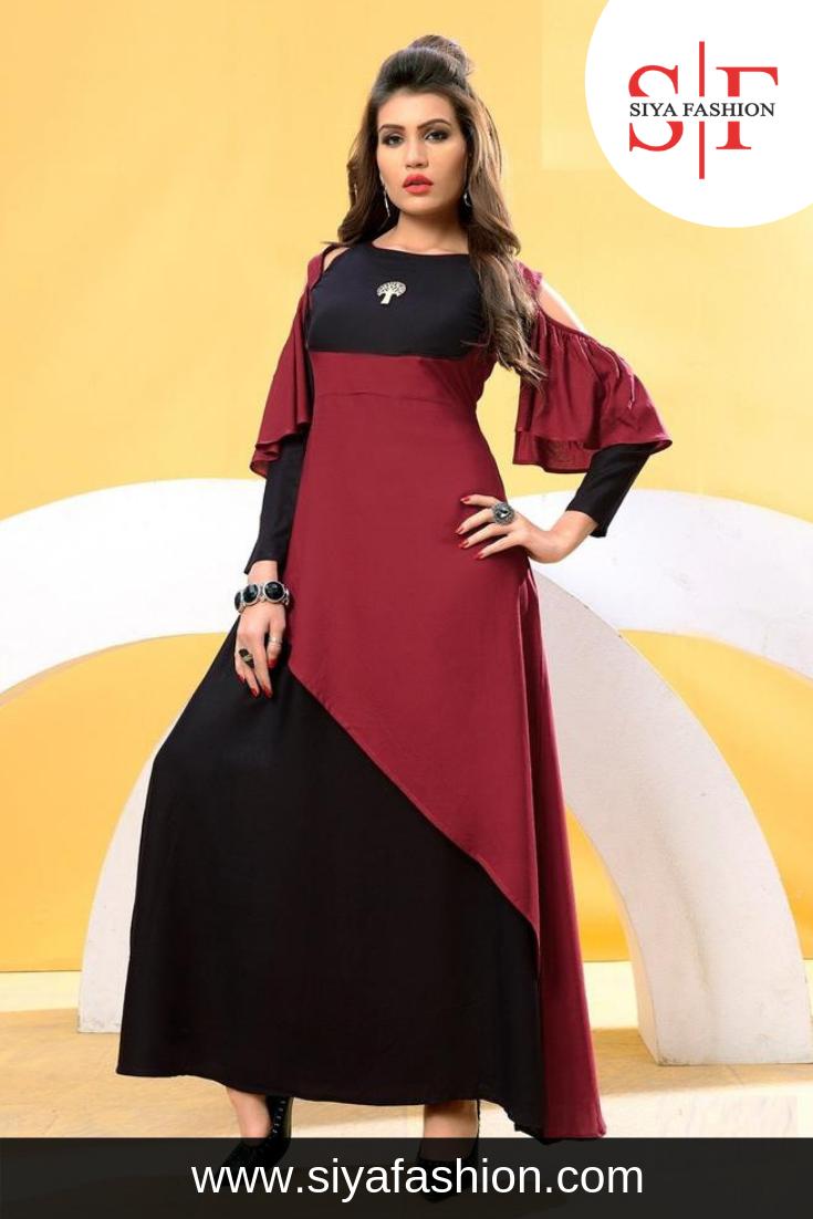 ff560364be Siya #Fashion #Designer #Partywear #Maroon Black Heavy #Rayon #Cotton #