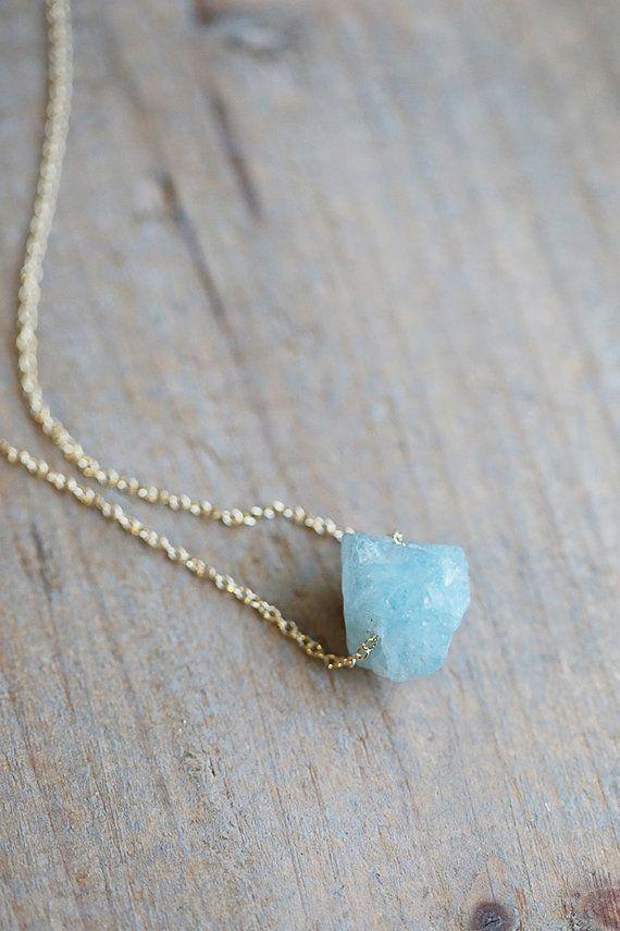 Raw Aquamarine Necklace Aquamarine Crystal Jewelry
