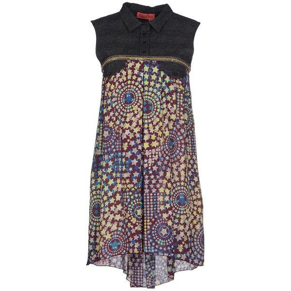 Manila Grace Denim Short Dress ($150) ❤ liked on Polyvore featuring dresses, lead, purple sleeveless dress, multi-color dress, flannel dress, pattern dress and multi color mini dress